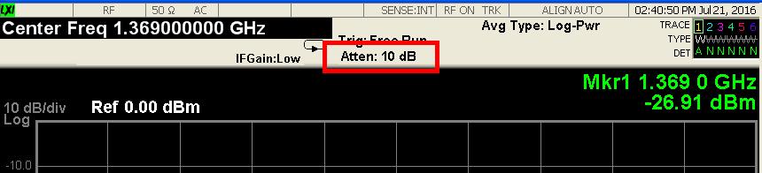 輸入衰減值會標示在頻譜螢幕上方