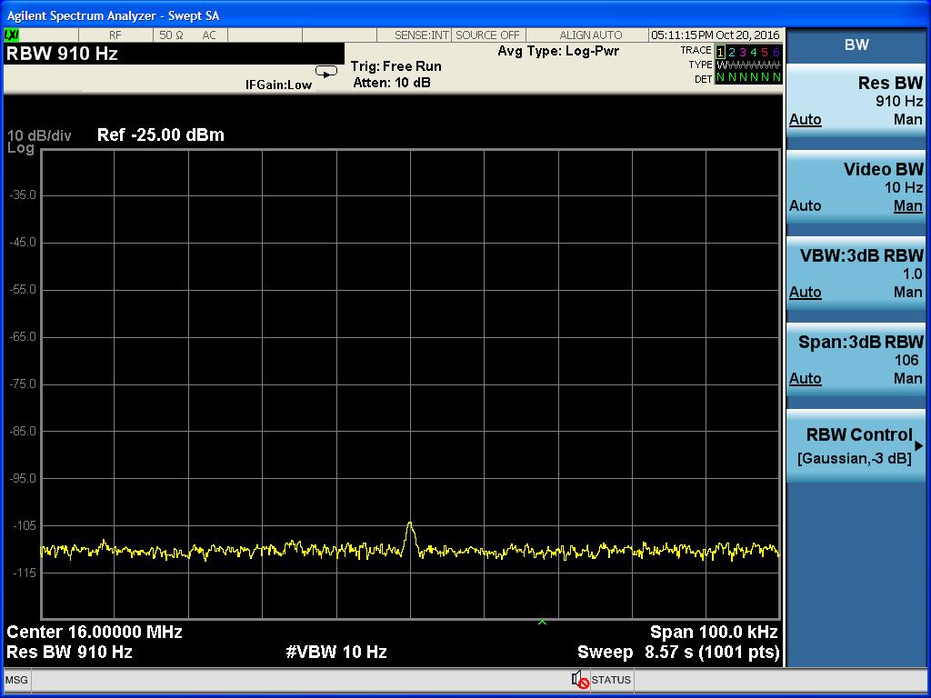 VBW調小之後,16MHz的訊號就漸漸清楚了