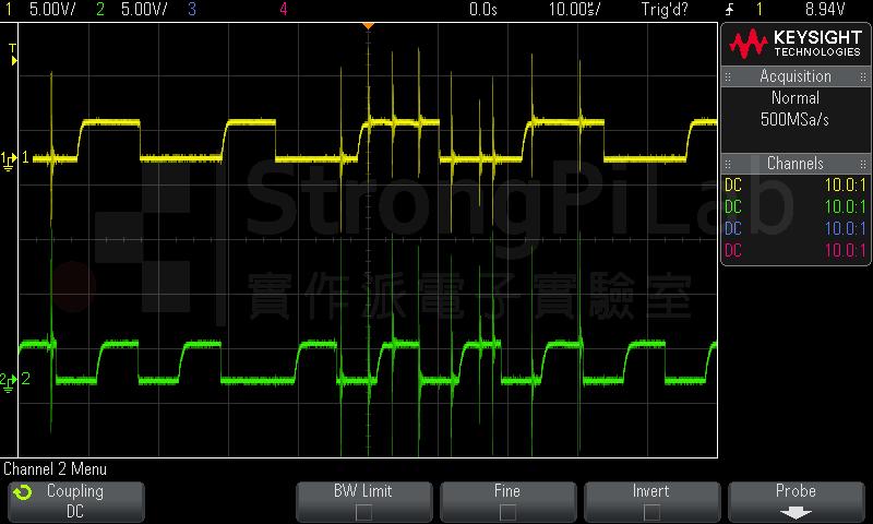 遭受電磁干擾的I2C訊號