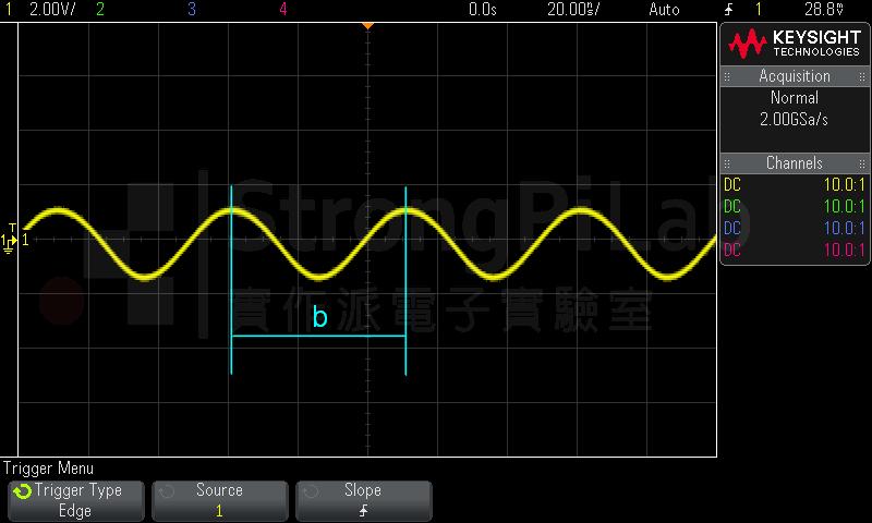 示波器弦波間的距離是週期