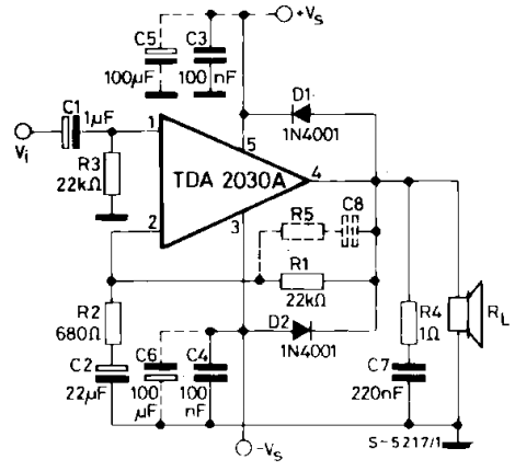 TDA2030A sample circuit [Quote from ST TDA2030A datasheet]