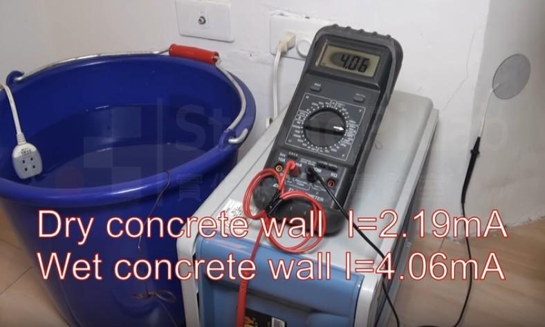 潮濕水泥地的 水中電流 測試,得到4.06mA