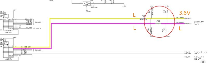 LCHxPEDGE路徑上的電壓前後不同